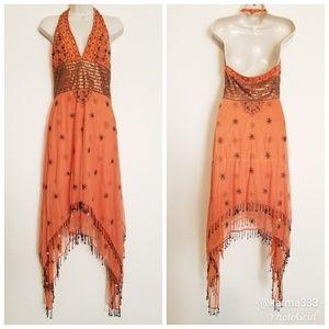 Night Way Collections Beaded Halter Dress Sz 4